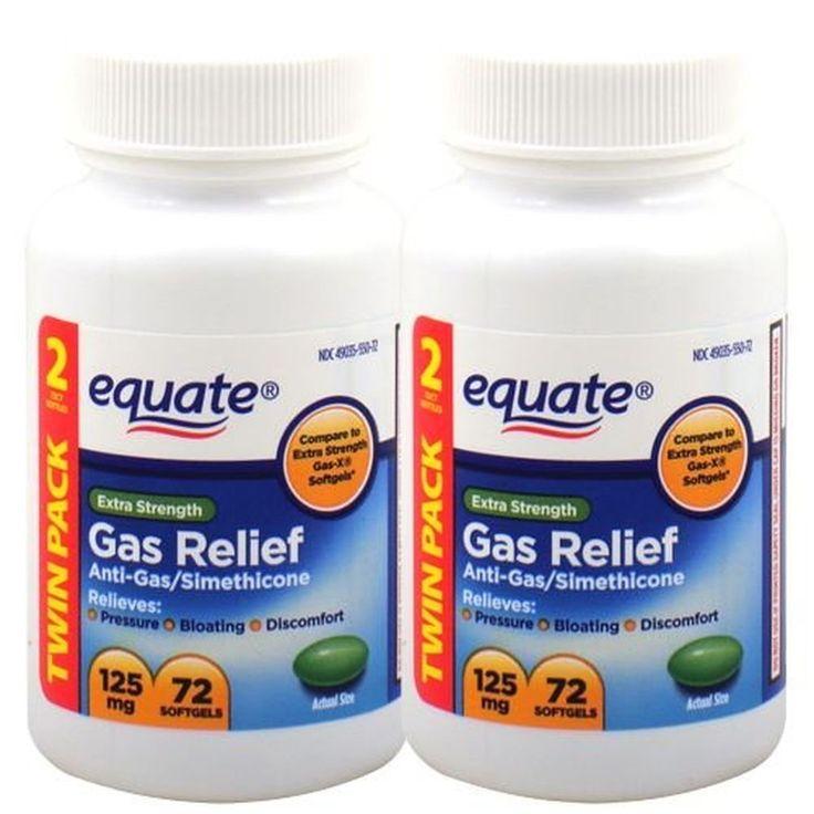 Equate Extra Strength Gas Relief 125 mg 72 Softgels (Twin Pack)   #Equate #GasRelief #Softgels #BloatingRelief #AntiGas #Simethicone#OverTheCounterMedicine #HealthCare