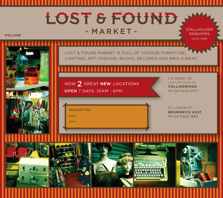 Lost And Found Market 1 5 Perry Street, Collingwood; 511 Lygon Street,