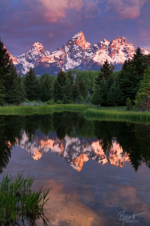 Schwabacher Landing is a popular destination for photographers to catch the morning sunlight hitting the Tetons and being reflected in the s...