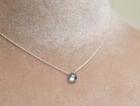 Aquamarine necklace, dainty necklace, March birthstone jewelry, blue bridesmaid necklace, petite necklace - Natalie on Etsy, $42.50