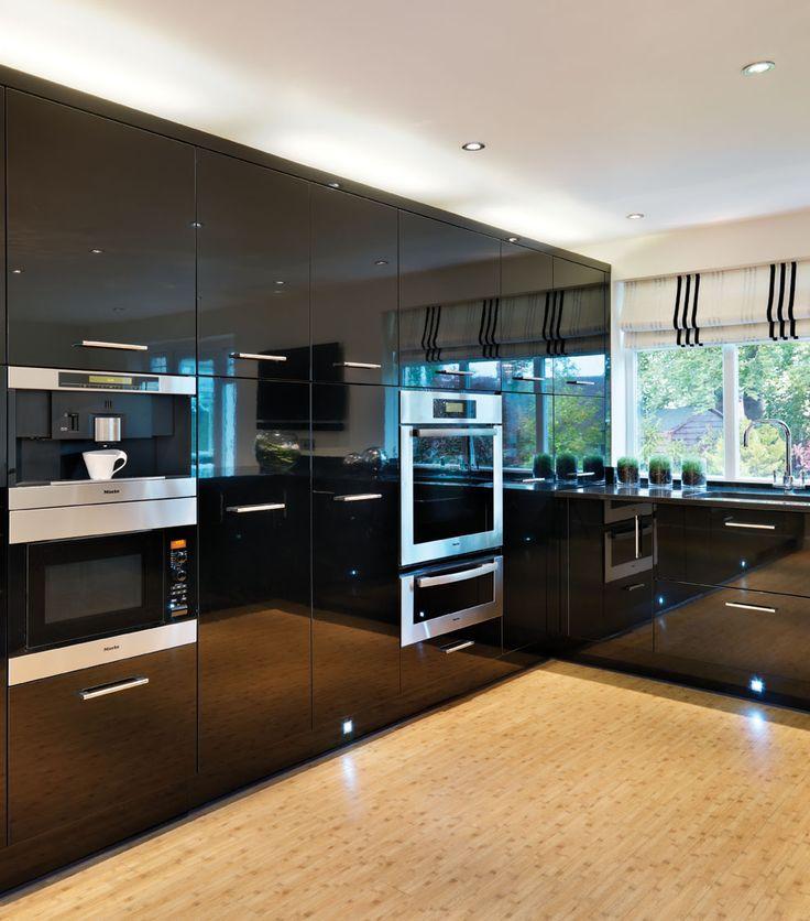 Black High Gloss Contemporary Kitchen Design by Callerton, available at Cara Design.
