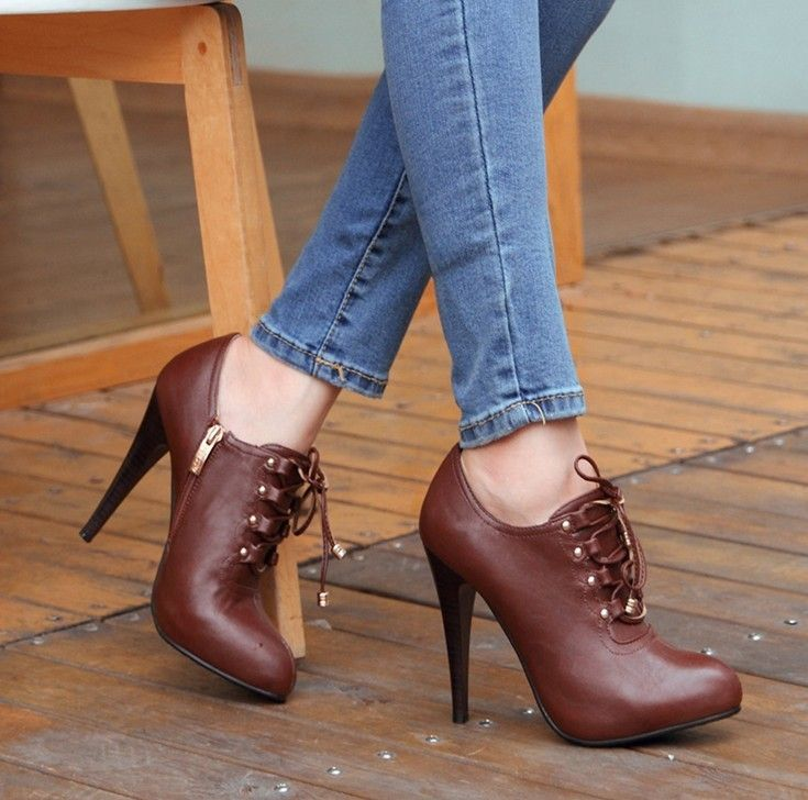 2013New Free shipping woman autumn  winter high heel lace up sexy pump,Brown PU leather High quality pump