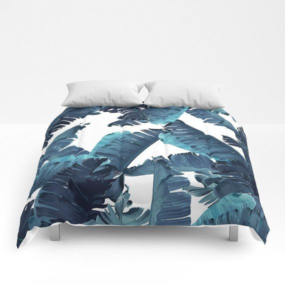 Blue Duvet Cover, Full Queen King Duvet, Coastal Bedroom Decor, Banana Leaf Bed Cover, Tropical Bedding, Blue Comforter, Tropical Glam