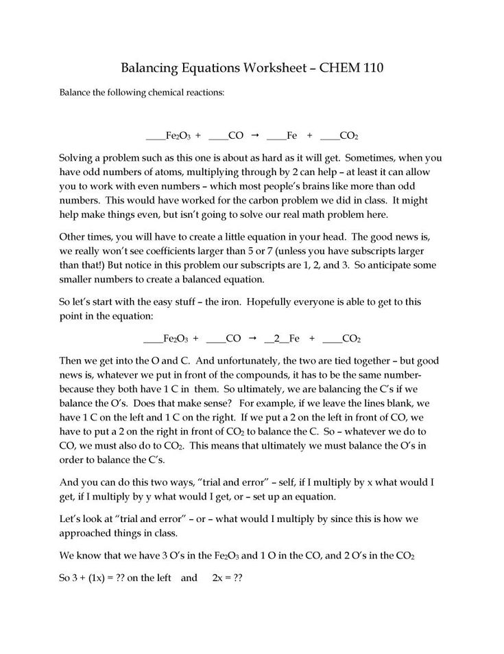 49 Balancing Chemical Equations Worksheets [with Answers