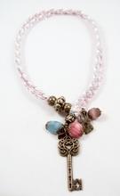 Bixut - Collar Coraline azul-rosa. Realizado en rodocrosita,amazonita, ante, lazo y piezas de metal de fantasía.