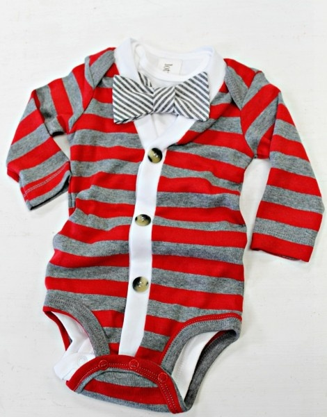 Striped Cardigan Onesie.
