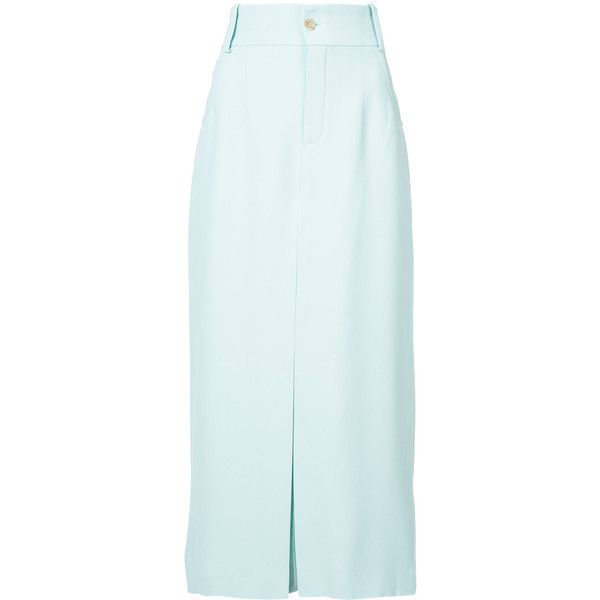 Chloé High Waist Culottes ($1,195) ❤ liked on Polyvore featuring pants, capris, blue, blue pants, blue trousers, high rise trousers, straight pants and high-waisted trousers