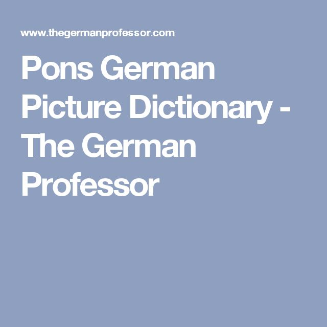 Pons German Picture Dictionary - The German Professor