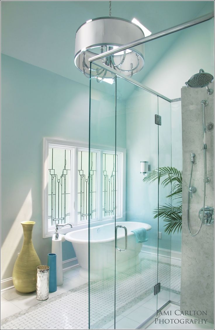 Light blue bathroom decor - This One Is Another Whimsical Bathroom That Is Having Light Blue Walls Looking So Refreshing