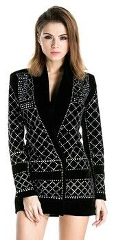 Stylish V-neck long-sleeved geometric studded velvet blazer can be worn as dress Decoration Rhinestone