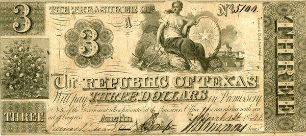 Republic of Texas Three Dollar Currency