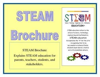 STEAM BrochureThis is a great brochure that can be used with parents, teachers, students, and stakeholders. It gives a general overview of STEAM education and The Engineering Design Process.It also includes STEAM discipline definitions.