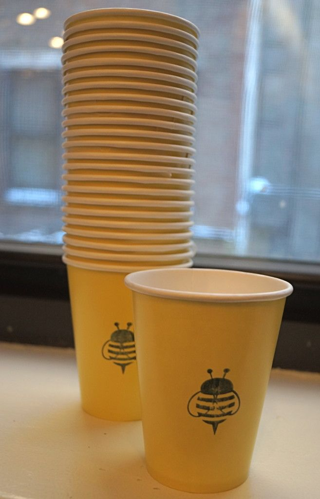hand-stamped bee paper cups @hiphostessilana