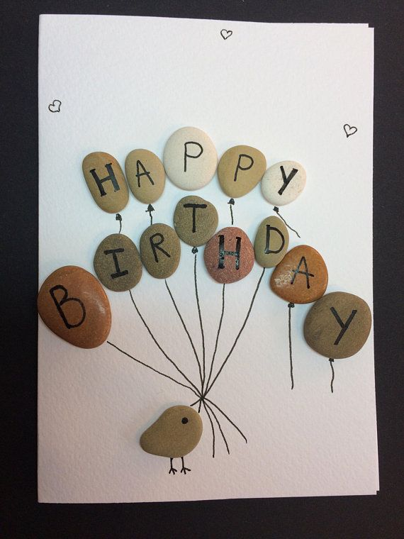 Handmade Birthday Card, Greeting Card, Mothers Day Card, Pebble Art, Present Card, Birthday Gift Card, Birds, Balloons Greeting cards This elegant handmade greeting card is made with selected sea glass from the Black Sea in Europe and hand painted with a fine-liner pen. This unique card