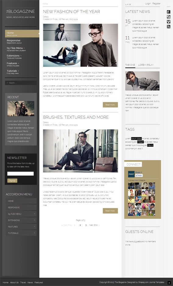 Blogagzine, Joomla Responive Retina Magazine Template by Premium Themes, via Behance