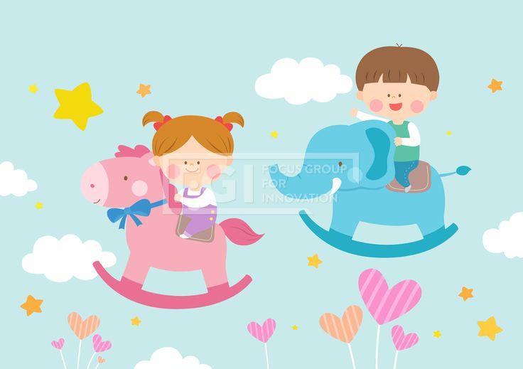 SILL157, 베이비스토리, 에프지아이, 아기, 교육, 어린이, 사람, 캐릭터, 오브젝트, 여자, 남자, 소녀, 소년, 2인, 꿈, 조랑말, 코끼리, 놀이, 놀이방, 목마 #유토이미지 #프리진 #utoimage #freegine 19519221