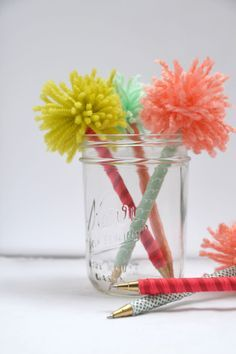 Handmade Gifts: Pom Pens | Hearts & Sharts - Fun tutorial!