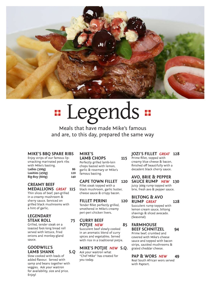Mike's Kitchen Legends Meals that have made Mike's famous and are, to this day, prepared the same way