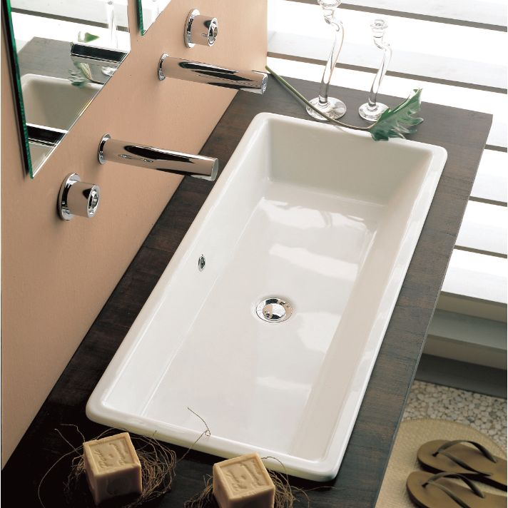 Scarabeo Gaia Rectangular White Ceramic Self Rimming or Vessel Sink 8033