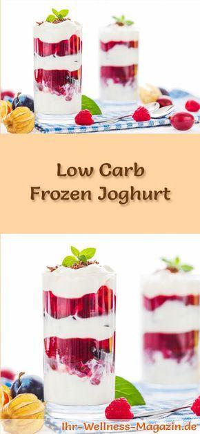 Rezept für einen Low Carb Frozen Joghurt zum selber machen - ein einfaches Dessert-Rezept für eine kalorienreduzierte, kohlenhydratarme Süßspeise ohne Zusatz von Zucker ...