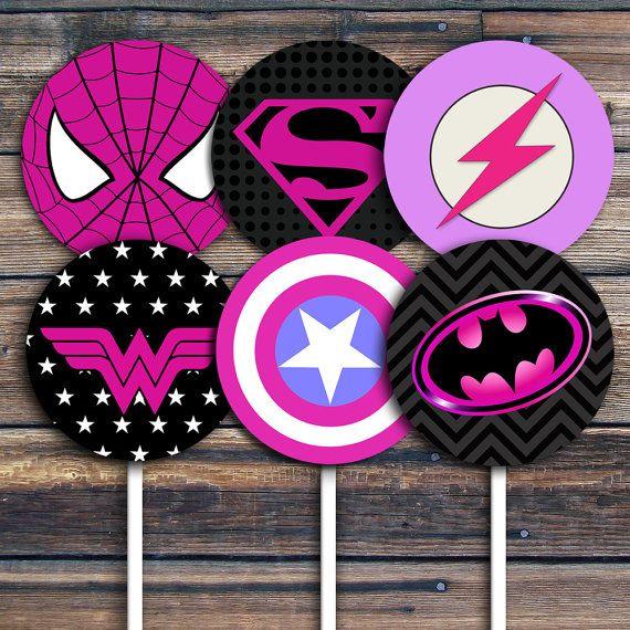 Superhero Cupcake Topper - Superhero Birthday Party Favor - Girl Superhero Birthday - Bottle cap - circles - Girl Party - Supergirls - DIY