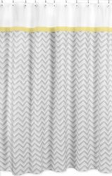This would be perfect when I redo my kids bathroom. Zig Zag Chevron Yellow, White and Gray Shower Curtain Chevron Bedding Collections by Sweet Jojo Designs The Zig Zag Chevron Yellow, White and Gray