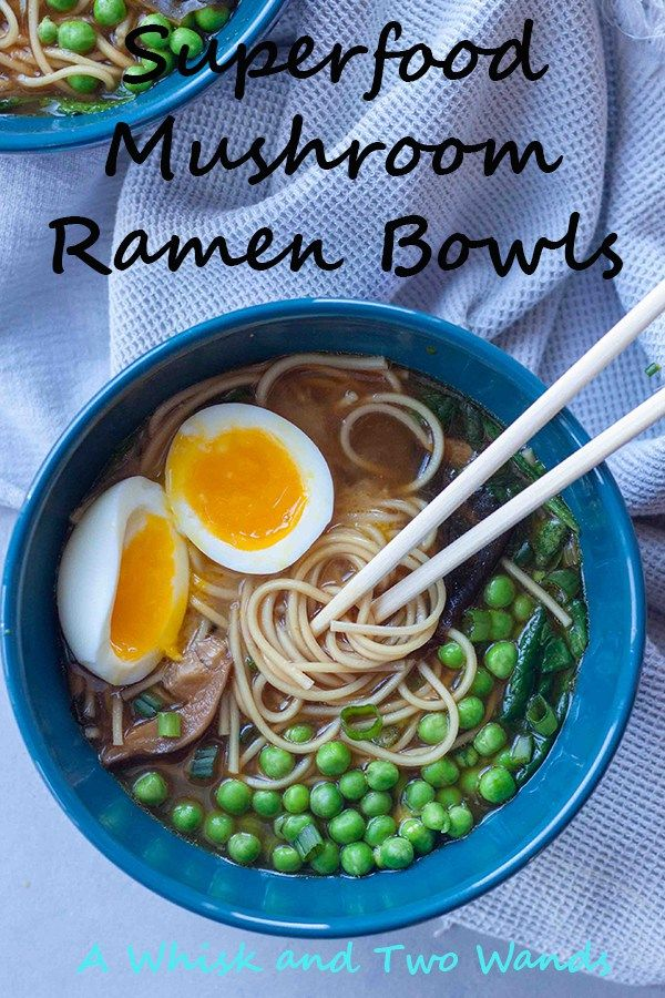 Superfood Mushroom Ramen Bowls  Good for you comfort food these healthy Superfood Mushroom Ramen Bowls are packed with greens, functional mushrooms, and optional additions including a soft boiled egg. Quick and easy it's a great weeknight meal. Gluten free and vegan friendly.