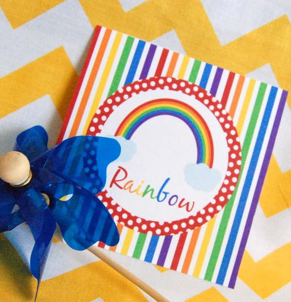 Rainbow full printable party decor for birthday or baby for Baby full month decoration ideas