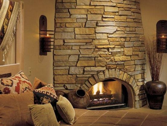 Country Style Corner Round Fireplace Stone Tile
