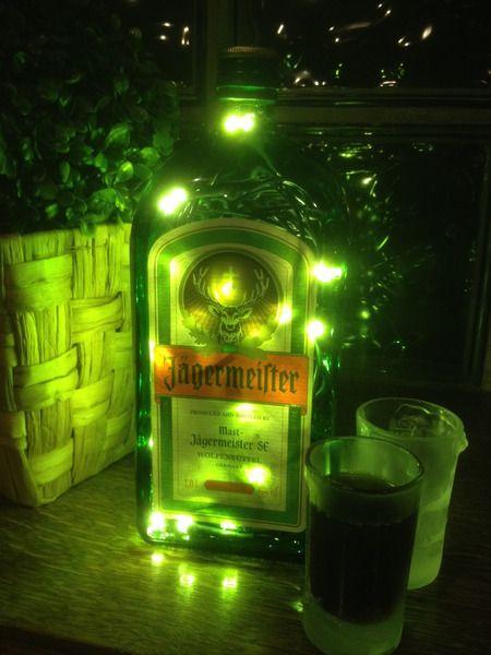 1 Liter Jägermeister Flasche mit LEDs beleuchtet von Taunus-Bottles auf DaWanda.com