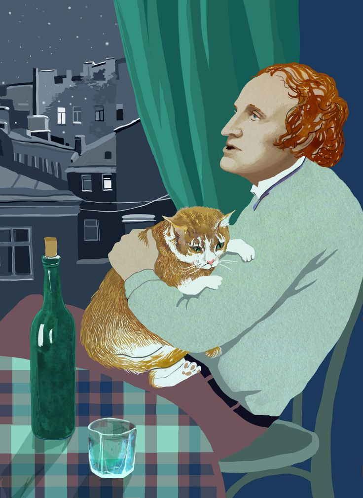 Russian poet Joseph Brodsky with Mississippi the cat Poster (A3)
