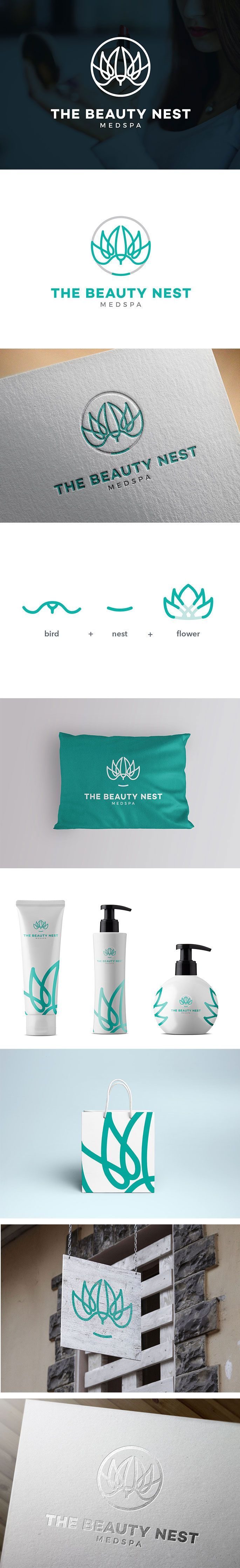 MedSpa Logo Design, Beauty Nest Brand Identity | Spa, Beauty, Clinic, Medical, Bird, Wing, Nest, Mark, Circle | The Beauty Nest MedSPa, Las Vegas US | Celine Le Duigou, Freelance Graphic Designer Perth Australia