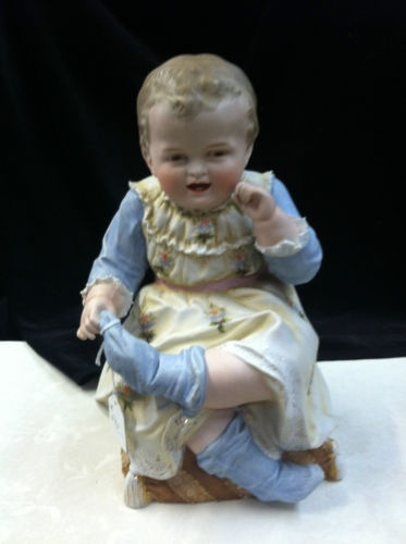 """Vintage Antique German Porcelain Piano Baby Doll Figurine 13"""" Height 7"""" Width"""