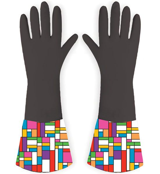 Rubber Gloves - Color Block - novelty gloves in a Mondrianesque style. Add some high culture to your daily chores with these amusing gloves.