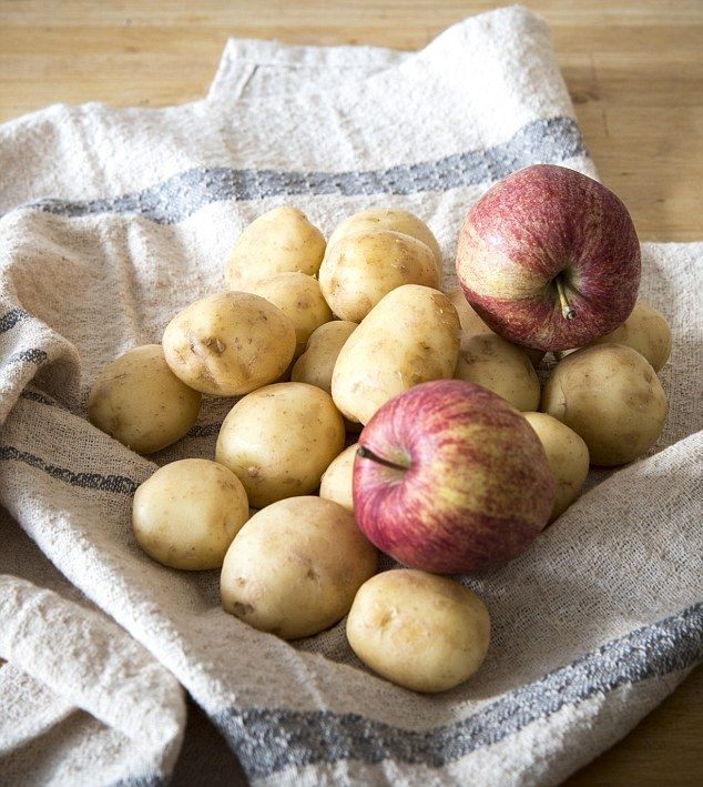 Store an apple or two with your potatoes in a cool, dry place. This will prevent them sprouting, due to gases emitted from the apple