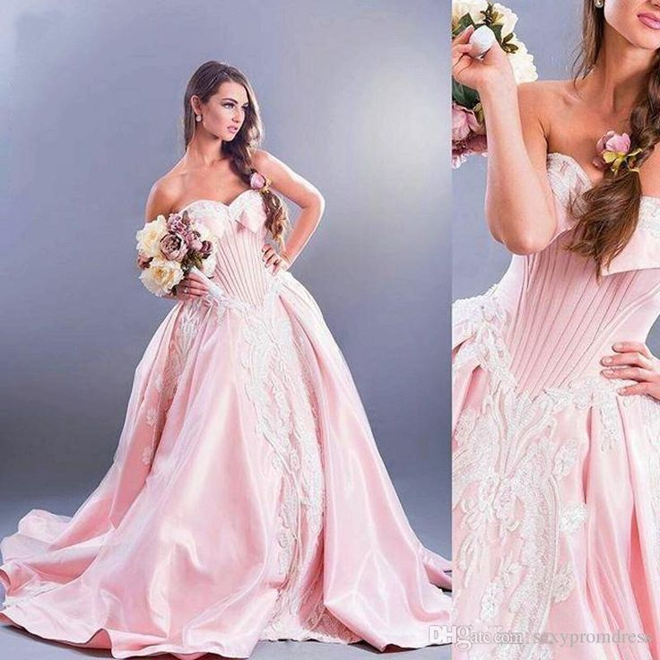 Amazing Pink Sweetheart White Lace Applique Wedding Dresses 2017 Satin Organza Ball Gown Bridal Gowns Dubai Lace Up Arabic Wedding Dresses Bridal Designers Bridal Dresses Online From Sexypromdress, $163.82  Dhgate.Com