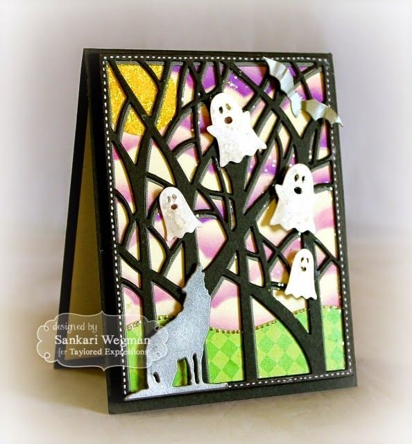 Sankari's Sunshine Corner: Taylored Expressions Sneak Peeks: Little Bits Halloween Scene and Spooky Trees Cutting Plate