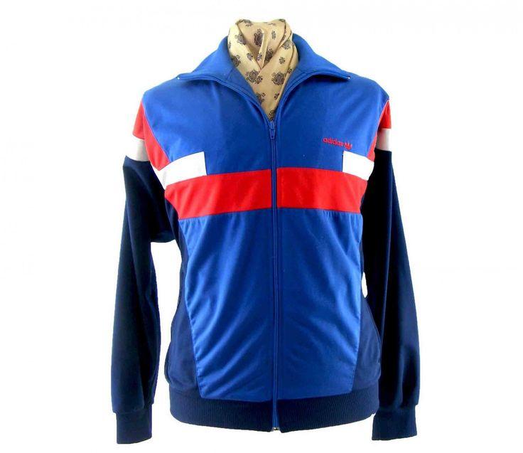 80's vintage adidas sport jacket navy blue striped sleeve unisex size small LIUXu7xw