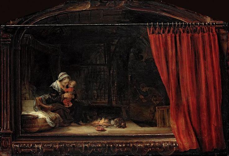 Святое Семейство с занавесом. Харменс ван Рейн Рембрандт