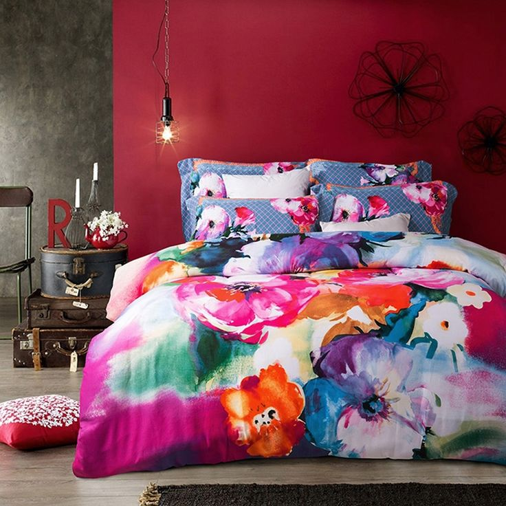purple pink and blue colorful watercolor flower print vintage style brushed cotton full queen size bedding sets