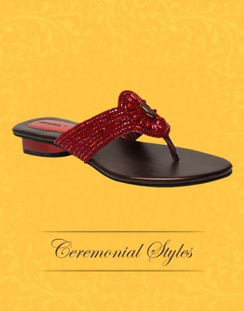 Create the perfect wedding look with these gorgeous red sandals by pairing them with your lehengas and salwars. #CeremonialStyles