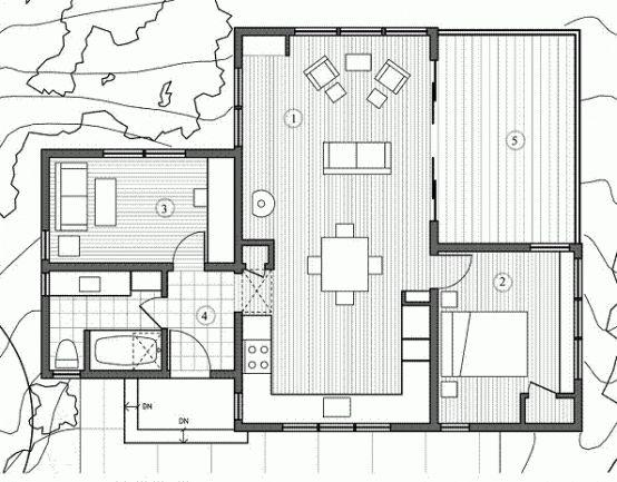Al plano de hoy lo llamo cabaña no solo por su aspecto cabañesco, sino porque su distribucion interna, aunque bonita e interesante, es bastante incomoda y la veo mas como para una casa de campo que como vivienda permanente. El estudio que tenemos al lado del baño lo transformaria en una segunda habitacion y se … Continúa leyendo Moderna cabaña de un dormtiorio y 78 metros cuadrados