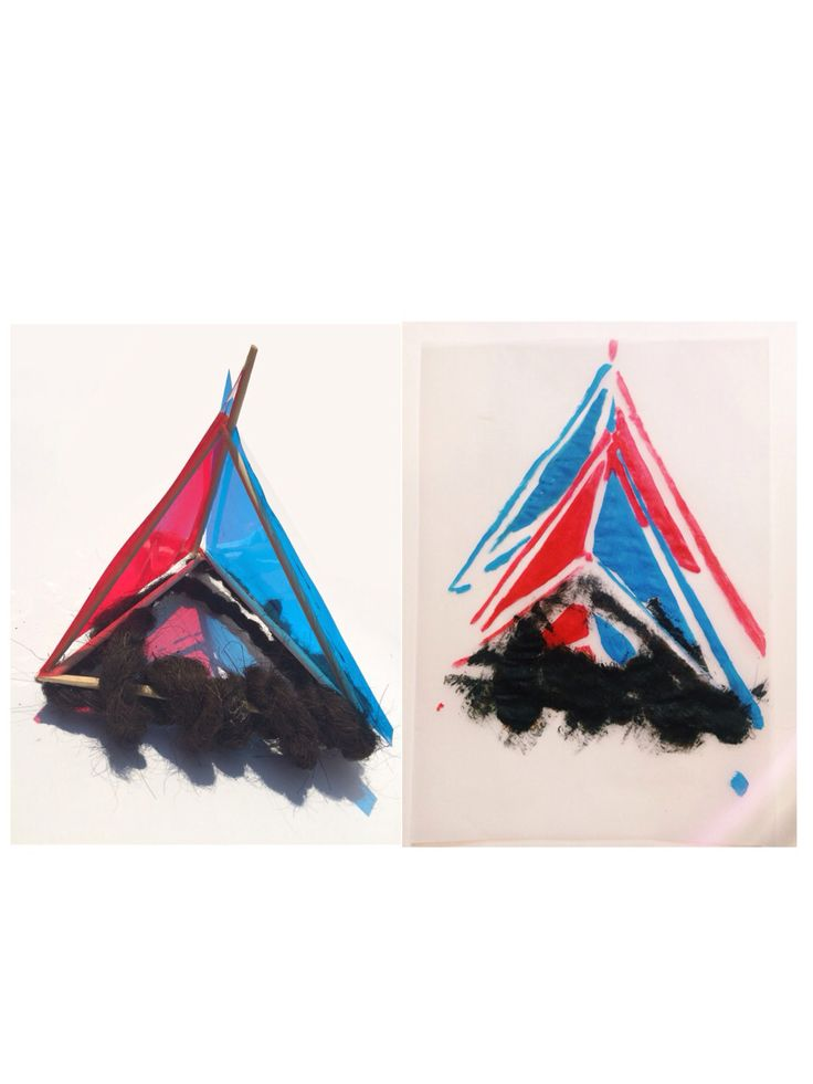 colour, repition, balance, texture. materials: rope, chopstick, colored-transparent paper.