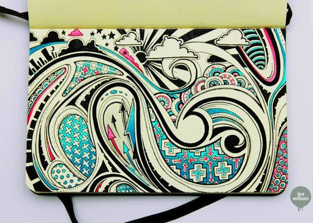 moleskine art   Moleskine Art: 3D and Patterned Doodles by Lex Wilson (9 Pictures)