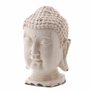$44.95 - This ceramic Buddha head has a crackled iridescent white finish, making it a great fit for any decor.