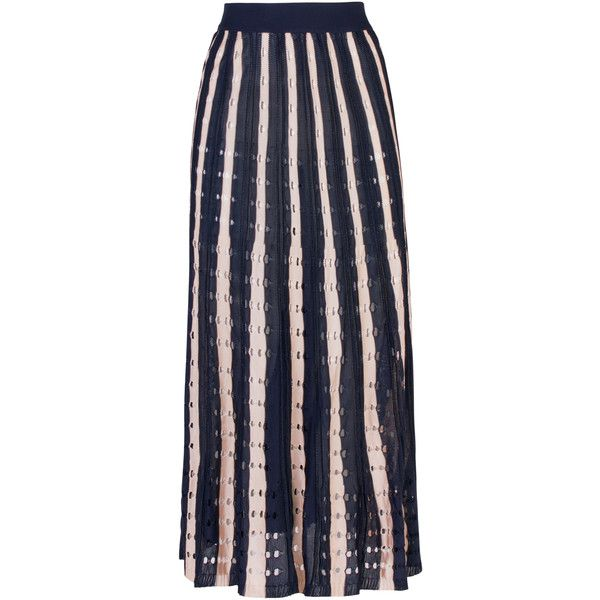 Lolitta Penelope Evase Midi Skirt (18.964.675 IDR) ❤ liked on Polyvore featuring skirts, navy, high-waist skirt, knee length a line skirt, striped skirt, a line midi skirt and navy blue skirt