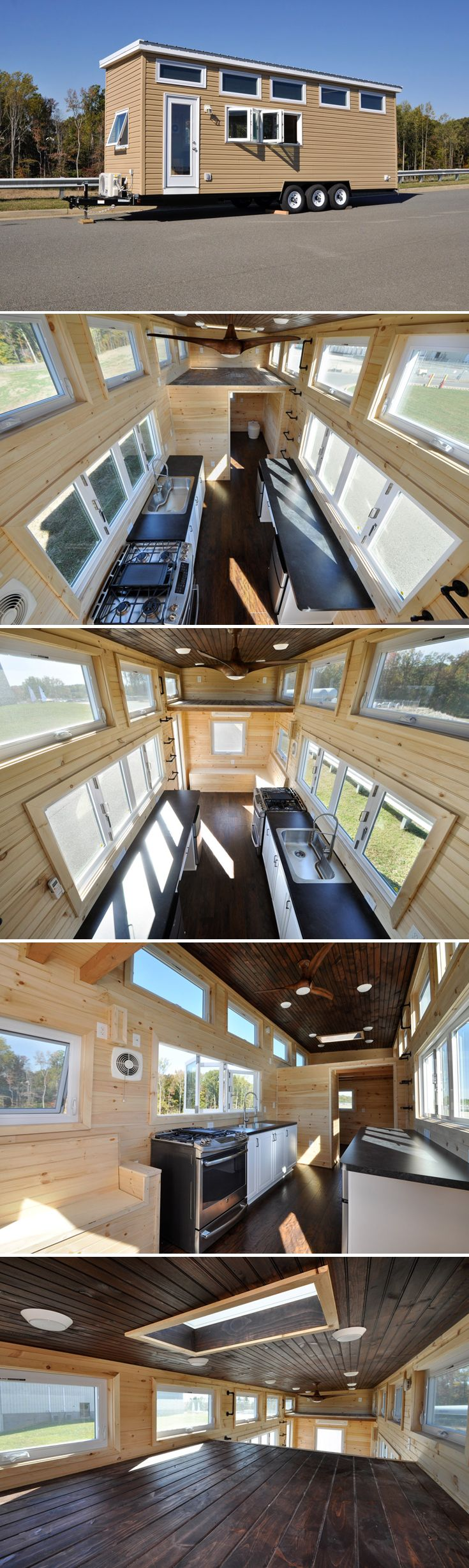 With its two accordion style windows, the Hillside by Tiny House Building Company helps you feel apart of the outdoors while enjoying the comforts of home.