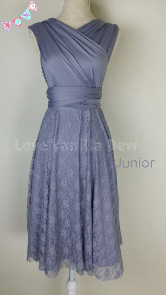Love this color What can be better than a dress that can morph into many dresses? Create infinite styles with one convertible dress. Your junior bridesmaid can