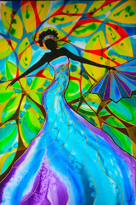 Pretty African woman in a blue dress and gorgeous colors in leaves, great painting idea.