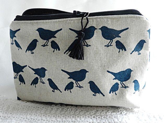 Estuches para lápices - Bolso cosmetico OISEAU - hecho a mano por MAUVE-CAPUCINE en DaWanda #bolsos #clutch #bag #DaWanda #hechoamano #handmade #diseño